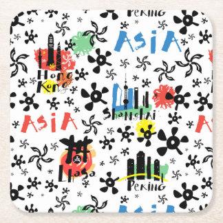 Dessous-de-verre Carré En Papier Motif de symboles de l'Asie |
