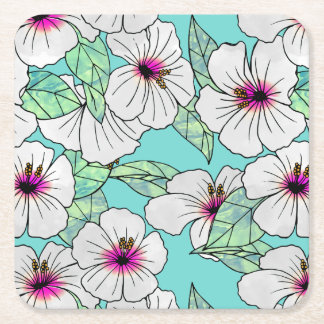 Dessous-de-verre Carré En Papier Motif floral de ketmie tropicale de rose et