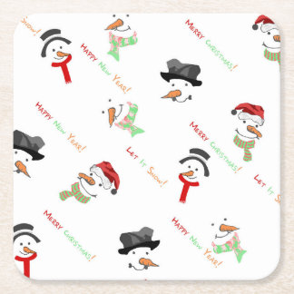 Dessous-de-verre Carré En Papier Motif lunatique de bonhomme de neige de Noël