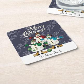 Dessous-de-verre Carré En Papier Noël des copains   de bonhommes de neige de Joyeux