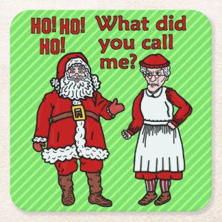 Dessous-de-verre Carré En Papier Noël drôle le père noël et Mme fête de vacances