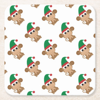 Dessous-de-verre Carré En Papier Noël Elf de singe