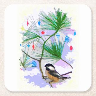 Dessous-de-verre Carré En Papier Oiseau de Chickadee dans des dessous de verre