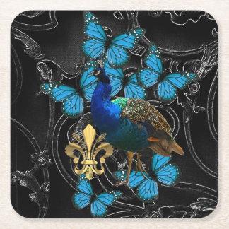 Dessous-de-verre Carré En Papier Paon et papillons gothiques