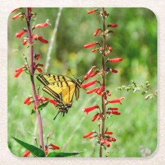 Dessous-de-verre Carré En Papier Papillon et fleurs sauvages de machaon de tigre