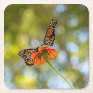 Dessous-de-verre Carré En Papier Papillons de monarque sur des fleurs sauvages