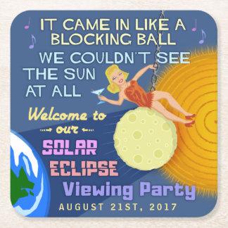Dessous-de-verre Carré En Papier Partie rétro Sun drôle d'éclipse solaire regardant