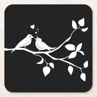 Dessous-de-verre Carré En Papier Perruches noires et blanches épousant, douche