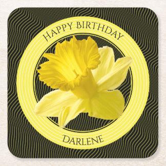 Dessous-de-verre Carré En Papier Personnalisez :  Jonquille florale de jaune de