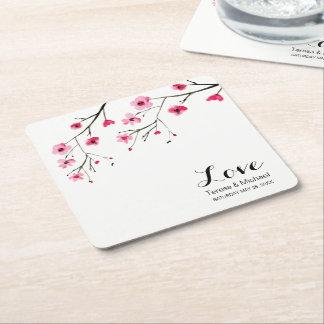 Dessous-de-verre Carré En Papier Personnalisez le mariage d'aquarelle de fleurs de