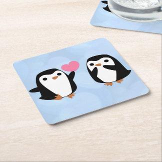 Dessous-de-verre Carré En Papier Pingouins dans l'amour