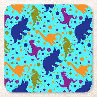 Dessous-de-verre Carré En Papier Pois de dinosaure coloré pour des enfants de bébé