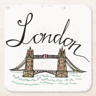 Dessous-de-verre Carré En Papier Pont en lettres de Londres de main