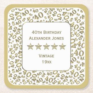 Dessous-de-verre Carré En Papier quarantième Or de fête d'anniversaire/motif blanc