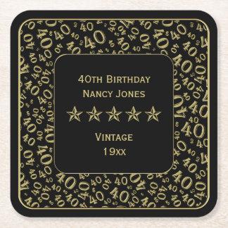 Dessous-de-verre Carré En Papier quarantième Or de fête d'anniversaire/motif de