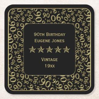 Dessous-de-verre Carré En Papier quatre-vingt-dixième Or de fête