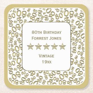 Dessous-de-verre Carré En Papier quatre-vingtième Or de fête d'anniversaire/motif