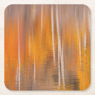 Dessous-de-verre Carré En Papier Réflexions d'automne sur l'étang | Winthrop, WA de