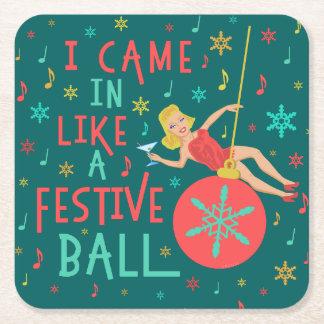 Dessous-de-verre Carré En Papier Rétro femme de Noël drôle sur la boule de fête de