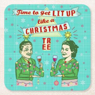 Dessous-de-verre Carré En Papier Rétros vacances potables adultes de fête de Noël