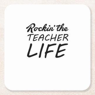 Dessous-de-verre Carré En Papier Rockin la vie de professeur - cadeau pour le