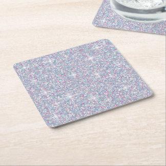 Dessous-de-verre Carré En Papier Scintillement iridescent blanc