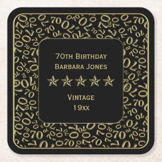 Dessous-de-verre Carré En Papier soixante-dixième Or de fête d'anniversaire/motif
