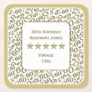 Dessous-de-verre Carré En Papier soixantième Or de fête d'anniversaire/motif blanc