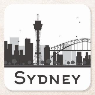 Dessous-de-verre Carré En Papier Sydney, Australie horizon noir et blanc de   de