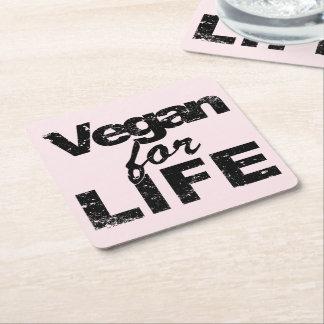 Dessous-de-verre Carré En Papier Végétalien pendant la VIE (noir)