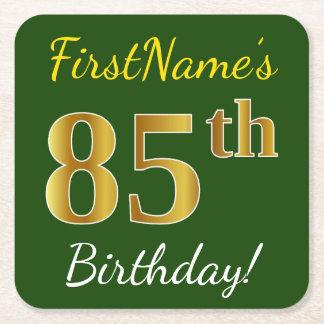 Dessous-de-verre Carré En Papier Vert, anniversaire d'or de Faux 85th + Nom fait