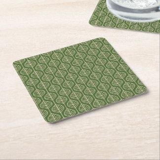 Dessous-de-verre Carré En Papier Vert et blanc laisse le parti de nature de feuille