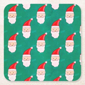 Dessous-de-verre Carré En Papier Vert mignon de motif de Noël de Père Noël