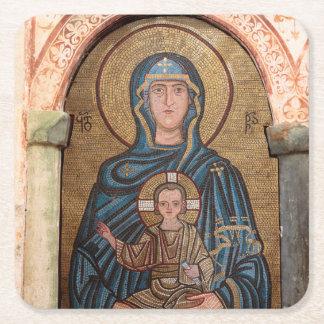 Dessous-de-verre Carré En Papier Vierge Marie et mosaïque de Jésus
