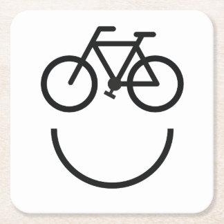 Dessous-de-verre Carré En Papier Visage de vélo, smiley de bicyclette