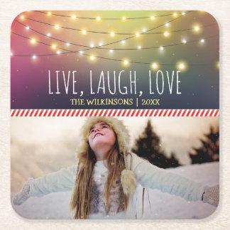 Dessous-de-verre Carré En Papier Vivant, rire, vacances gaies de la photo   de Noël