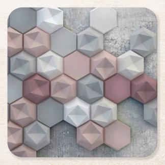 Dessous de verre carrés d'hexagones architecturaux dessous-de-verre carré en papier
