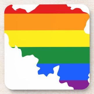 Dessous-de-verre Carte de drapeau de la Belgique LGBT