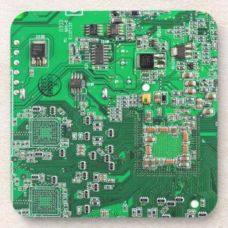 Dessous-de-verre Carte de geek d'ordinateur - vert
