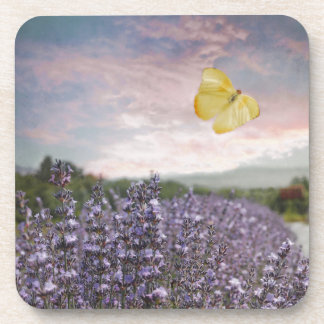 Dessous-de-verre Champ des fleurs de lavande, ciel bleu, coucher du
