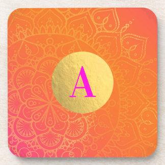 Dessous-de-verre Charme indien rose fuchsia de mandala d'orange et