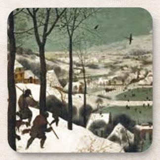 Dessous-de-verre Chasseurs dans la peinture d'hiver