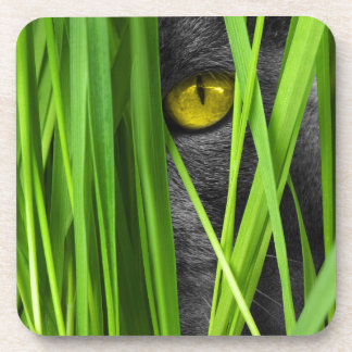 Dessous-de-verre Chat gris scrutant par l'herbe verte