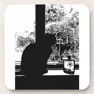 Dessous-de-verre Chat noir dans la fenêtre