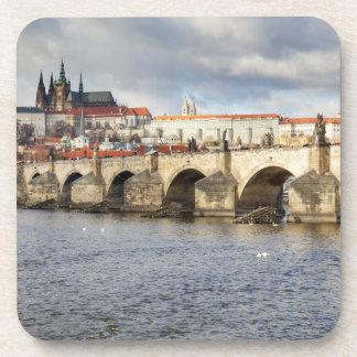 Dessous-de-verre Château de Prague et photo de souvenir de pont de