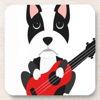 Dessous-de-verre Chien de Boston Terrier d'amusement jouant la