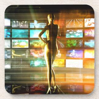 Dessous-de-verre Concept de technologies de médias comme mur visuel