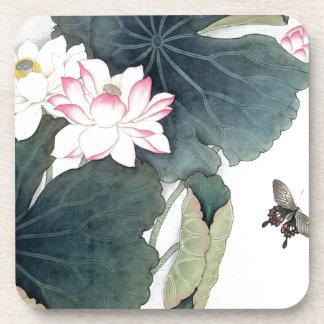 Dessous-de-verre Cool asiatique d'art de papillon de fleur de rose