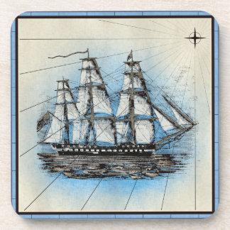 Dessous-de-verre Copie marine de bateau noir avec le cadre bleu