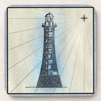 Dessous-de-verre Copie marine de phare noir avec le cadre bleu